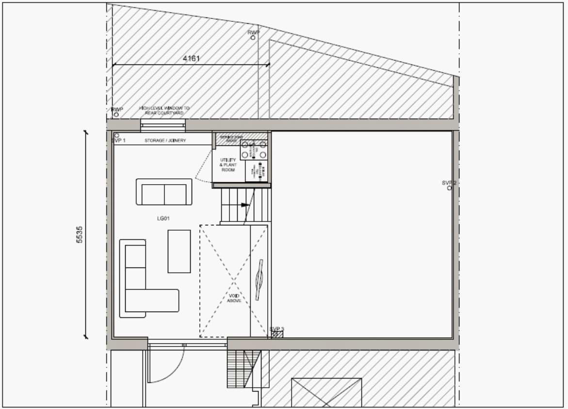 Blenheim Grove House 62 layout example 1 lower ground floor